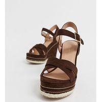 New Look faux suede cross strap wedges in mid brown - Brown
