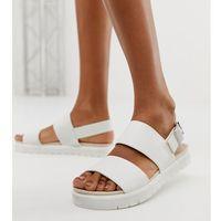 Monki double strap flat slingback sandals in white - white