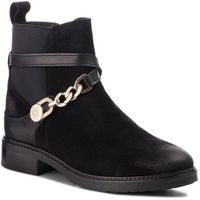 Botki TOMMY HILFIGER - Th Chain Bootie Sued FW0FW03454 Black 990