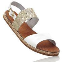 Sandały skórzane biało-złoty marki Bonprix