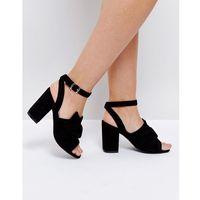 oversized knot front heel sandals - black marki Park lane