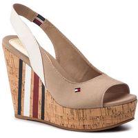 Sandały - sling back wedge sandal stripes fw0fw03839 cobblestone 068 marki Tommy hilfiger
