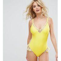 lace insert plunge swimsuit dd - g cup - yellow, Peek & beau, XXS-S