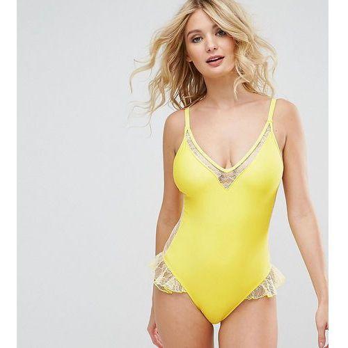 Peek & Beau Lace Insert Plunge Swimsuit DD - G Cup - Yellow