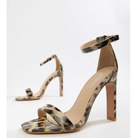 leopard print patent barely there heeled sandals - multi, Glamorous