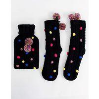 ASOS DESIGN pom pom hot water bottle and socks pack - Black