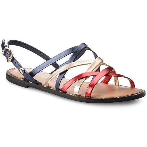 Sandały TOMMY HILFIGER - Metallic Strappy Flat Sandal FW0FW02776 Rwb 020, 36-40