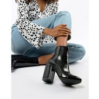 RAID Dolley Black Patent Heeled Ankle Boots - Black, kolor czarny