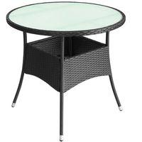 Vidaxl stolik z polirattanu do ogrodu, 90x74 cm, czarny (8718475501961)