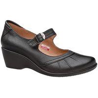 Półbuty na koturnie comfort 1147 czarne buty na haluksy h - czarny marki Axel