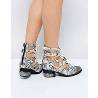 temeku cream snake toe cap heeled ankle boots - cream, Jeffrey campbell