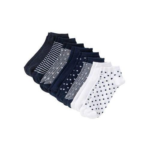 Skarpety do sneakersów niebieski melanż w paski + w kropki marki Bonprix