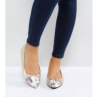 Asos loopy lou! wide fit unicorn ballet flats - gold