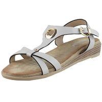 Sandały letnie Vogue Carla Popielaty Płaska podeszwa Licowa, kolor szary