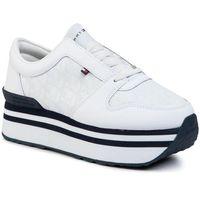 Sneakersy TOMMY HILFIGER - Tommy Jacquard Flatform Sneaker FW0FW04680 White YBS, 1 rozmiar