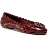 Baleriny TORY BURCH - Minnie Travel Ballet With Leather Logo 76782 Roma Red 607, kolor czerwony