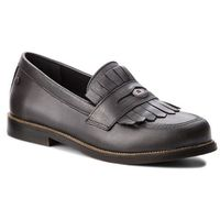 Tommy hilfiger Półbuty - metallic leather penny loafer fw0fw03402 dark silver 015