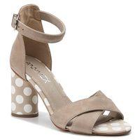 Sandały ANN MEX - 0222 03W+03G Beż/Beżowe Grochy, kolor beżowy