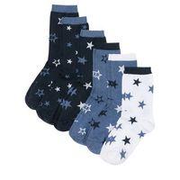 Skarpetki damskie (6 par) ciemnoniebieski melanż - niebieski dżins - biały, Bonprix