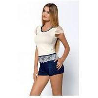 Piżama damska z krótkimi szortami Hamana model Roxy NEW ecru, kolor beżowy