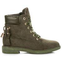 Buty ideal shoes Zamszowe workery wiązane wstążką