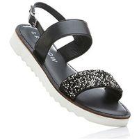 Sandały skórzane na koturnie bonprix czarny, kolor czarny