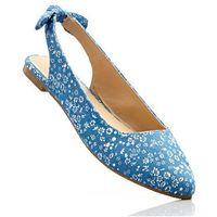 Baleriny z paskiem na pięcie bonprix niebieski dżins - piaskowy w kwiatową łączkę, kolor niebieski