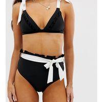 high waisted paper bag bikini bottoms - black, Lost ink