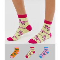 3 pack dinosaur socks - multi, Asos design