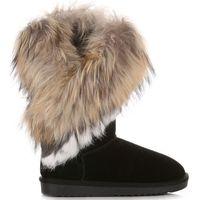 Włoskie skórzane botki damskie śniegowce wykonane z wysokiej jakości zamszu naturalnego ocieplane naturalnym futrem z jenota/królika czarne (kolory), Vera pelle
