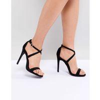 cross strap heeled sandal - black marki New look