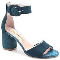1698 turkusowe - sandały na słupku - niebieski   zielony, Bravo moda