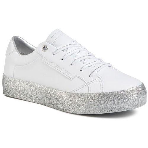 Sneakersy TOMMY HILFIGER - Glitter Foxing Dress Sneaker FW0FW04849 White/Silver 0K5, kolor biały