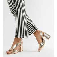 River island wide fit block heeled sandals in gold - gold