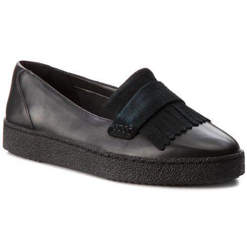 Półbuty CLARKS - Lillia Lottie 261308364 Black Combi Leather, kolor czarny