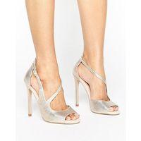 geep metallic asymetric strap heeled sandals - gold, Carvela