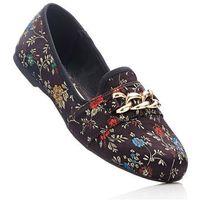 Buty wsuwane bonprix czarny wzorzysty, kolor czarny