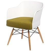 D2 Krzesło viva biały/oliwkowa poduszka