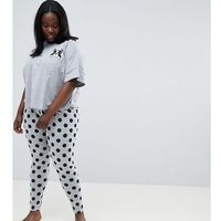 ASOS DESIGN Curve Frenchie Pocket Tee And Legging Pyjama Set - Grey, kolor szary