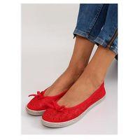 Inello Cudne koronkowe balerinki jx33 red