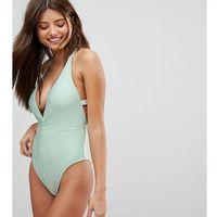 Peek & beau lace back plunge swimsuit dd - g cup - green