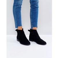 Hudson london aretha black suede tie back flat ankle boots - black