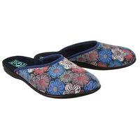 sara 23430 sal33 ni/cz niebieski kwiaty, kapcie damskie - niebieski marki Adanex