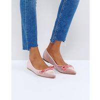 pink velvet bow ballet flat shoes - pink marki Glamorous