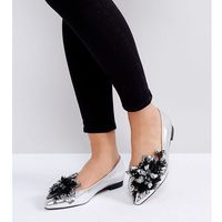 ASOS LILY OF THE VALLEY Wide Fit Embellished Ballet Flats - Silver, kolor szary