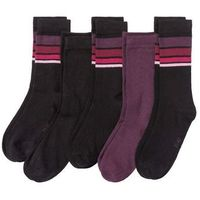 Skarpetki damskie (5 par) czarno-jeżynowy w paski marki Bonprix