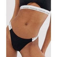 Calvin klein cheeky logo strap bikini bottom in black - black