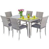 Meble ogrodowe technorattan MALAGA Stół i 6 krzeseł - Szare - Szary
