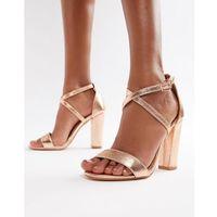 Glamorous metallic cross strap block heel sandals in rose gold - gold