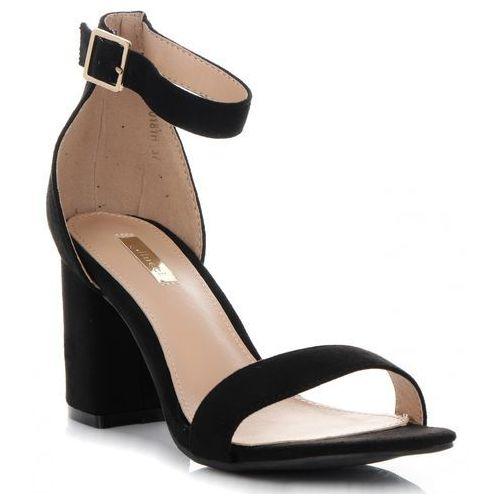 Firmowe Sandały Damskie na szerokim obcasie marki Bellucci Czarne (kolory), kolor czarny